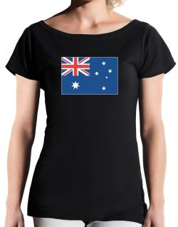 Australia Flag T-Shirt - Boat-Neck-Womens