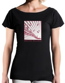 Delta Blues - Musical Notes T-Shirt - Boat-Neck-Womens