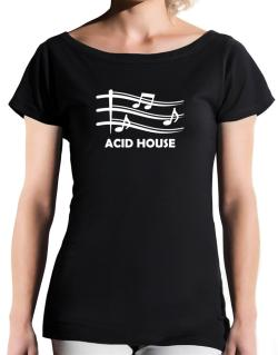 Acid House - Musical Notes T-Shirt - Boat-Neck-Womens