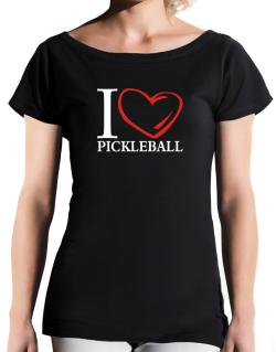 I Love Pickleball T-Shirt - Boat-Neck-Womens