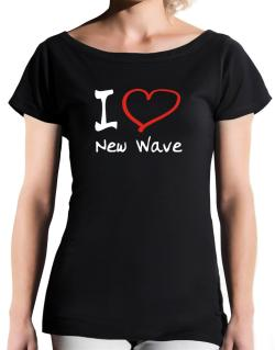 I Love New Wave T-Shirt - Boat-Neck-Womens