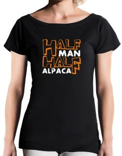 Half Man , Half Alpaca T-Shirt - Boat-Neck-Womens