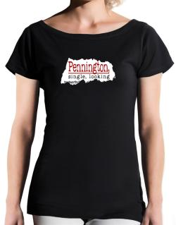 Pennington, Singe, Looking T-Shirt - Boat-Neck-Womens