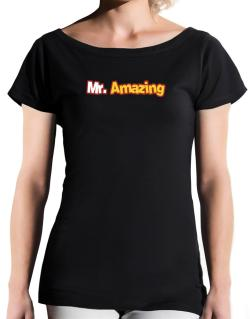 Mr. Amazing T-Shirt - Boat-Neck-Womens