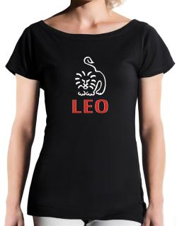 Leo - Cartoon T-Shirt - Boat-Neck-Womens