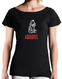 Aquarius - Cartoon T-Shirt - Boat-Neck-Womens