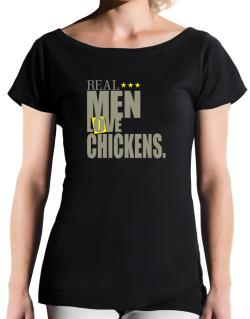 Real Men Love Chickens T-Shirt - Boat-Neck-Womens