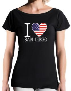 """ I love San Diego - American Flag "" T-Shirt - Boat-Neck-Womens"