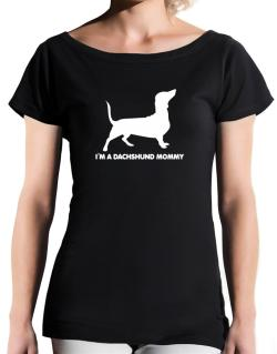 Dachshund mommy T-Shirt - Boat-Neck-Womens