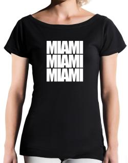 Miami three words T-Shirt - Boat-Neck-Womens
