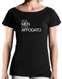 Real men love Affogato T-Shirt - Boat-Neck-Womens