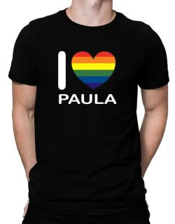 I Love Paula - Rainbow Heart Men T-Shirt