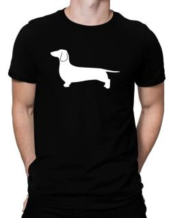 Dachshund Silhouette Embroidery Men T-Shirt