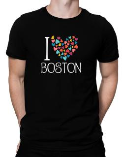 I love Boston colorful hearts Men T-Shirt