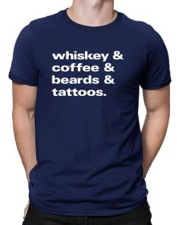 Whiskey coffee beards and tattoos Men T-Shirt