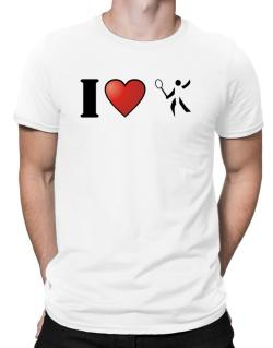 I Love Badminton - Silhouette Men T-Shirt