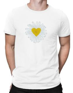 Daisy flower heart Men T-Shirt
