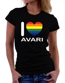 I Love Avari - Rainbow Heart Women T-Shirt