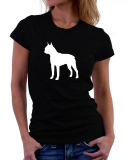 Boston Terrier Silhouette Embroidery Women T-Shirt