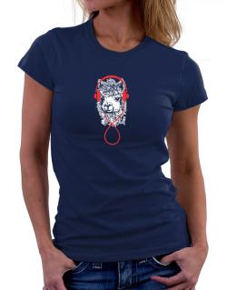 Llama with headphones Women T-Shirt