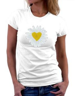 Daisy flower heart Women T-Shirt