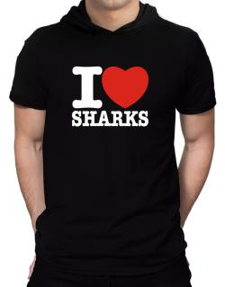 I Love Sharks Hooded T-Shirt - Mens