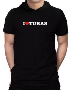 I Love Tubas Hooded T-Shirt - Mens