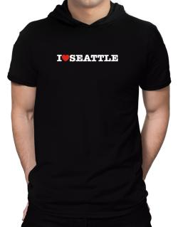 I Love Seattle Hooded T-Shirt - Mens