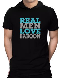 Real Men Love Baboon Hooded T-Shirt - Mens