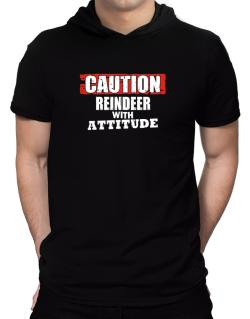 Caution - Reindeer With Attitude Hooded T-Shirt - Mens