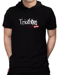Triathlon Is In My Blood Hooded T-Shirt - Mens