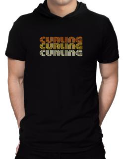 Curling Retro Color Hooded T-Shirt - Mens