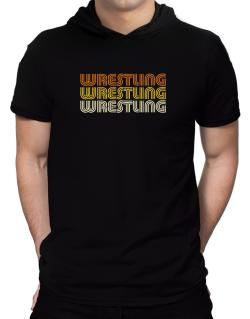 Wrestling Retro Color Hooded T-Shirt - Mens