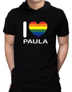 I Love Paula - Rainbow Heart Hooded T-Shirt - Mens