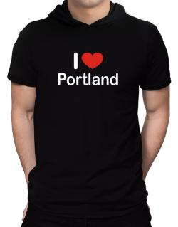 I Love Portland Hooded T-Shirt - Mens