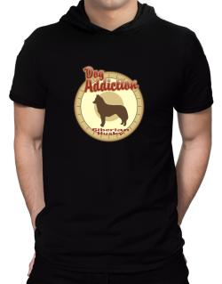 Dog Addiction : Siberian Husky Hooded T-Shirt - Mens