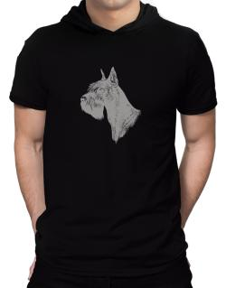 """ Schnauzer FACE SPECIAL GRAPHIC "" Hooded T-Shirt - Mens"