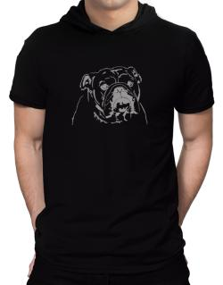 American Bulldog Face Special Graphic Hooded T-Shirt - Mens