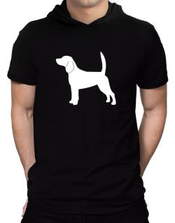 Beagle Silhouette Embroidery Hooded T-Shirt - Mens
