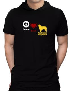 Peace, Love, Australian Shepherd Hooded T-Shirt - Mens