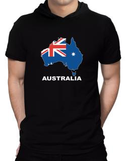 Australia - Country Map Color Hooded T-Shirt - Mens