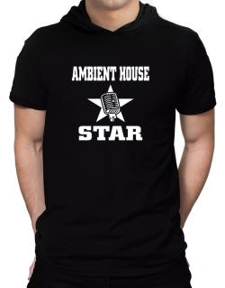 Ambient House Star - Microphone Hooded T-Shirt - Mens