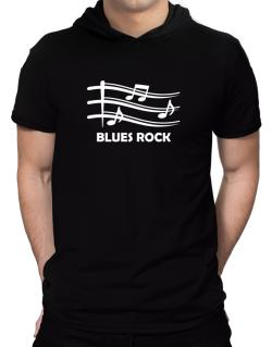 Blues Rock - Musical Notes Hooded T-Shirt - Mens