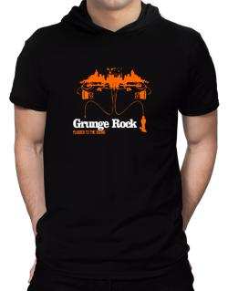 """  Grunge Rock plugged into the sound "" Hooded T-Shirt - Mens"