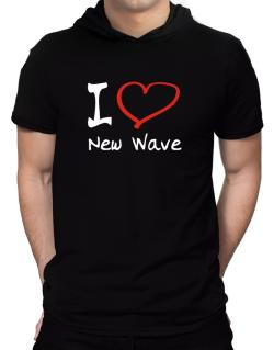 I Love New Wave Hooded T-Shirt - Mens