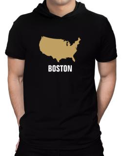 Boston - Usa Map Hooded T-Shirt - Mens