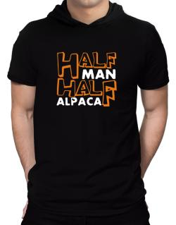 Half Man , Half Alpaca Hooded T-Shirt - Mens