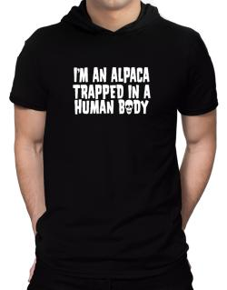 I Am Alpaca Trapped In A Human Body Hooded T-Shirt - Mens