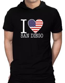 """ I love San Diego - American Flag "" Hooded T-Shirt - Mens"