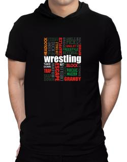 Wrestling Words Hooded T-Shirt - Mens